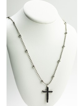 Metal  Necklace with Black and Steel Crucifix