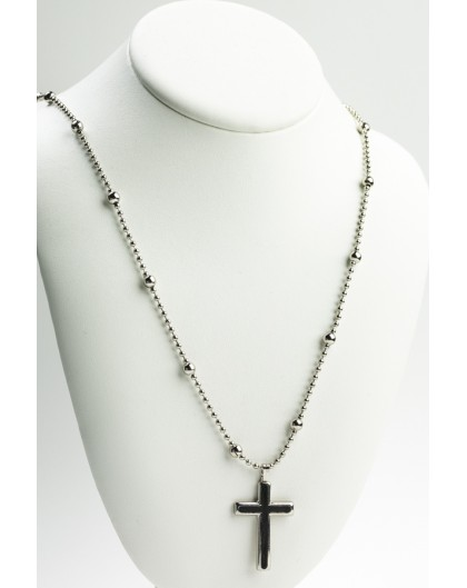 Metal Necklace Black Crucifix
