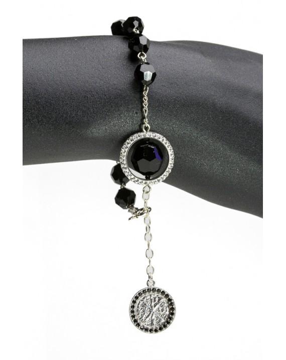 Swarowski Black Crystal with Strass Ring Rosary Bracelet