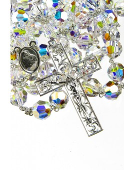 Clear Swarovski Crystal Rosary with Renaissance Silver Crucifix