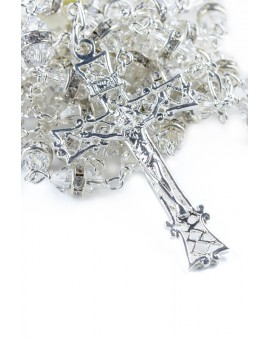 All Clear Crystal with strass beads Silver Rosary