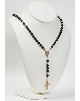 Lava Black Beads and Silver Pink Gold Plated