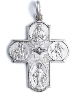 Four Way Medal Cross Pendant Sterling Silver small