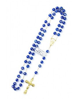 Blue Murano Glass Rosary 6mm Gold Plated