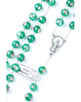 Green Murano glass Rosary