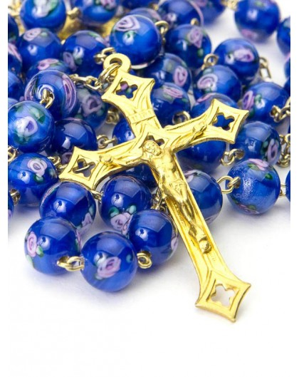 Deep Blue Murano Glass Rosary Gold Plated