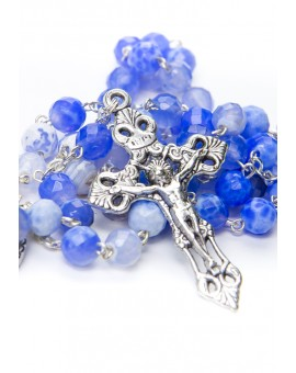 Sky Blue Variegate Agate Rosary