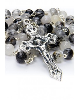 Faceted Translucent Variegate Agate Rosary