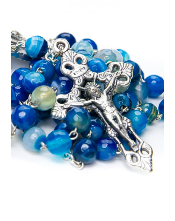 Faceted Blue Variegate Agate Rosary
