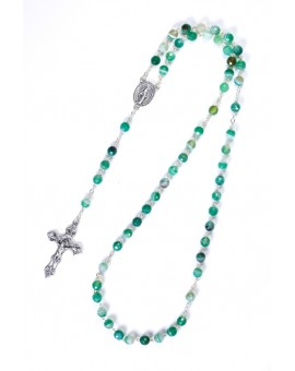 Faceted Variegate Green Agate Rosary