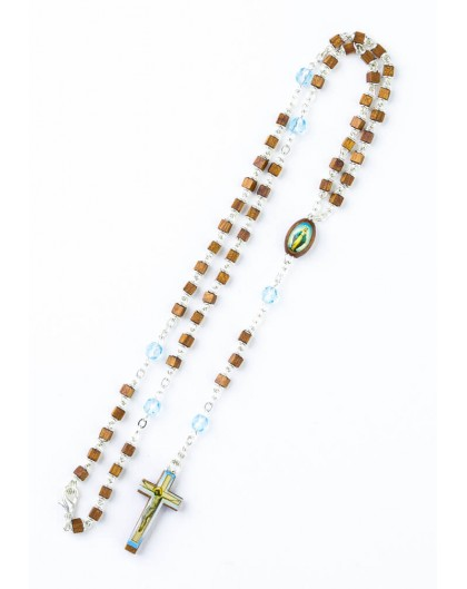Cubic Wood and sky blue Glass Rosary