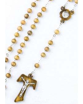 Tau Crucifix Ulive Wood Rosary with Pope Francis