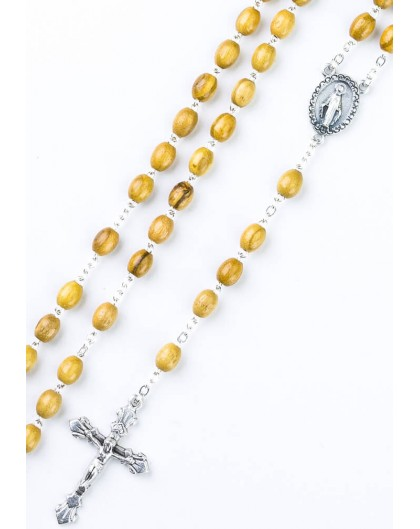 Ulive wood Rosary with metal Crucifix