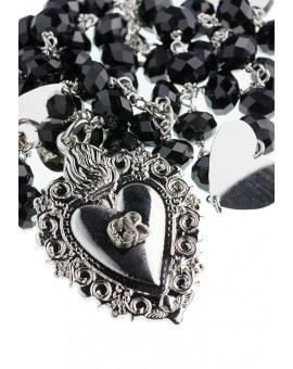 Black Swarovski Ex Voto - Gratia received heart Rosary Necklace