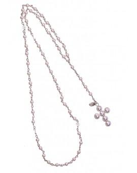 Circle Pearls Crucifix - Pearls and Swarovski Neclace