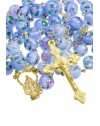 Sky Blue Murano Glass Rosary 6mm Gold Plated