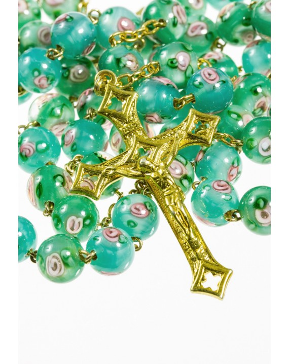 Green Murano Glass Rosary shine Gold Plated