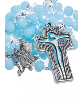 Crystal and Silver Paters design Rosary - sky blue