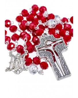 Crystal and Silver Paters design Rosary - red