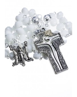 Crystal and Silver Paters design Rosary - white