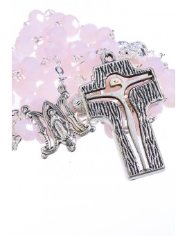 Crystal and Silver Paters design Rosary - pink