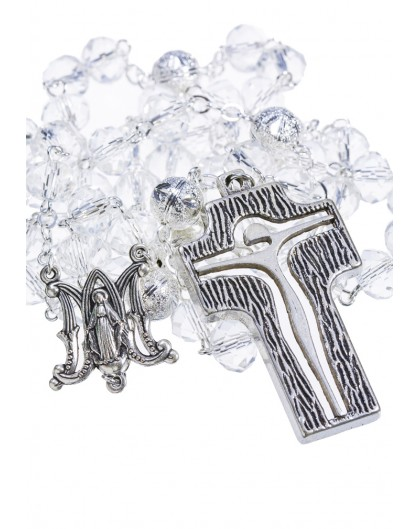 Crystal and Silver Paters design Rosary - transparent
