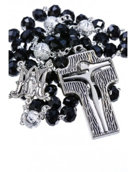 Crystal and Silver Paters design Rosary - black