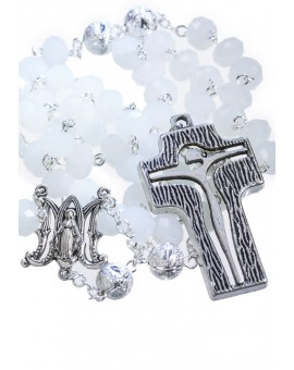 Crystal and Silver Paters design Rosary - opaline white