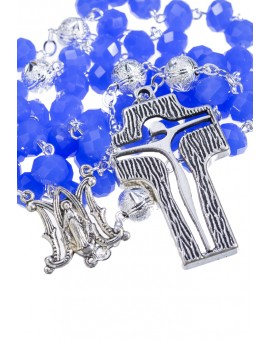 Crystal and Silver Paters design Rosary - cobalt