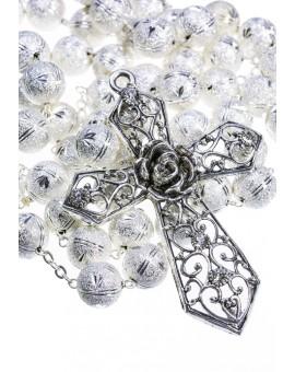 Satin Aluminium big  Rosary - Silver color