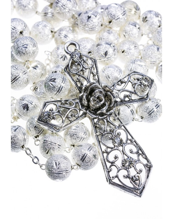 Satin Aluminium big  Rosary - Silver color