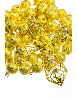 Satin Aluminium big  Rosary - Gold plated