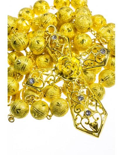 Satin Aluminium big  Rosary - Gold plated