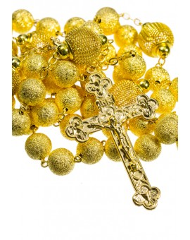 Satin and Shiny metal Rosary - Gold plated