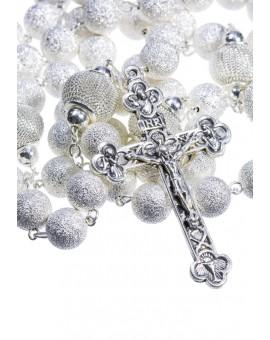 Satin and Shiny metal Rosary - Silver