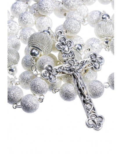Satin and Shiny metal Rosary - Silver