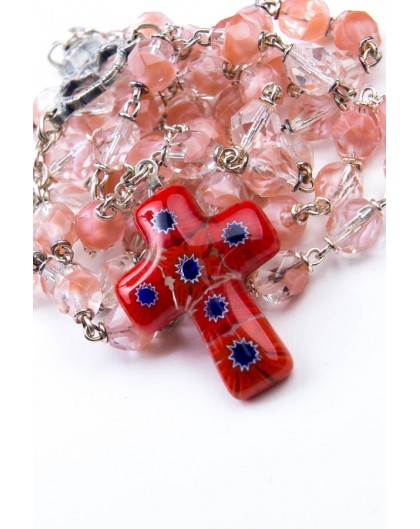 Pink and Red Murrina Rosary