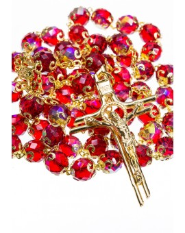 Red and Gold Crystal - Big Rosary