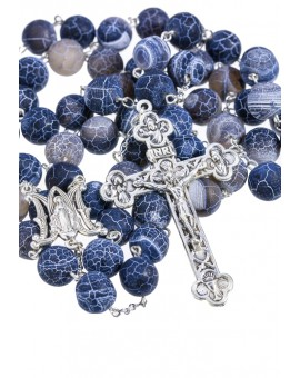 Satin Translucent Variegate Agate Rosary - Gray 10