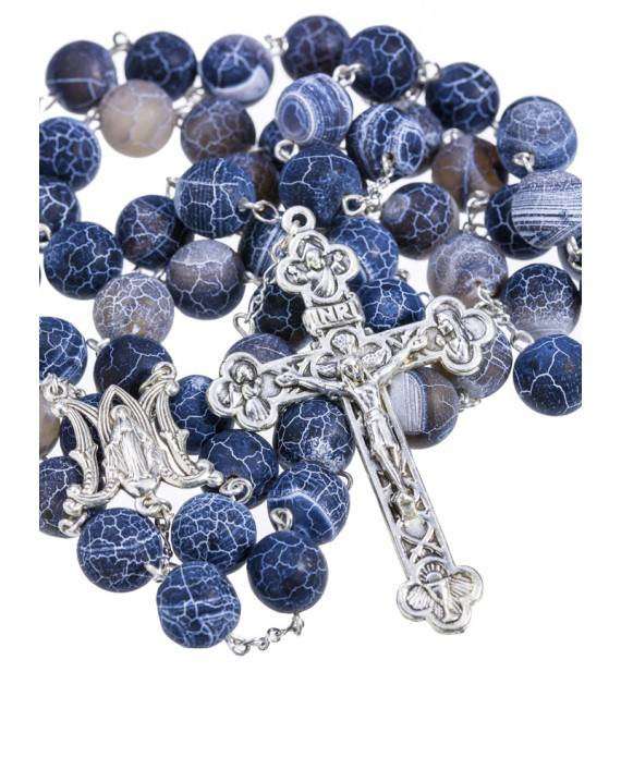 Satin Translucent Variegate Agate Rosary - Turquoise 10