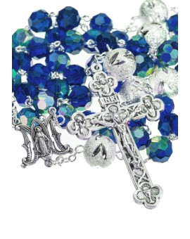 Crystal and Glitter silver Rosary - Admiral Blue
