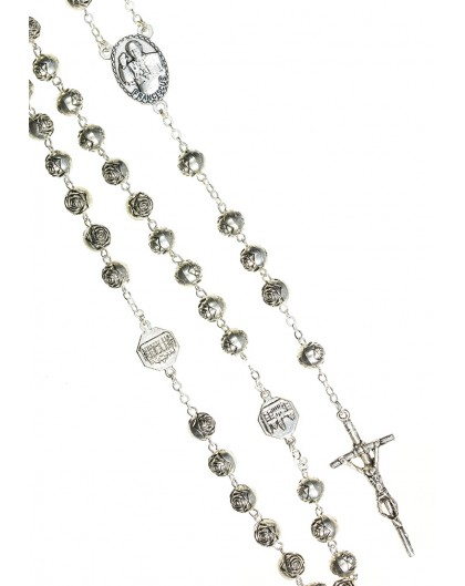 Pope Francis Metal Roses Rosary with Pastoral Crucifix