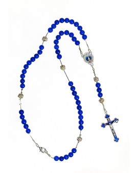 Blue Agate and Strass - Enamelled Crucifix Necklace