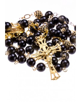 Variegate dark Obsidian Gold Plated Black Zircons Beads, Sterling Silver Gold Plated