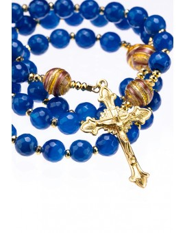 Capri Blue Faceted Agate, Murano gold Beads, Sterling Silver Gold Plated