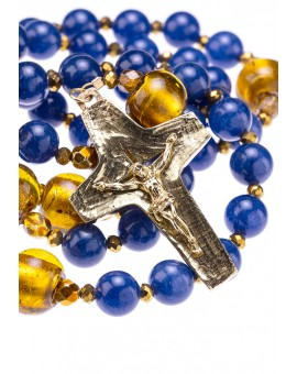 Deep Blue Agate, Silver Foil Murano Gold Beads, Sterling silver gold plated and Brass Crucifix