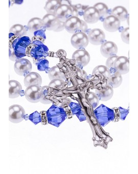 Gratia Plena Rosary - Swarovsky Sapphire Crystals, Mallorcan pearls, Sterling Silver