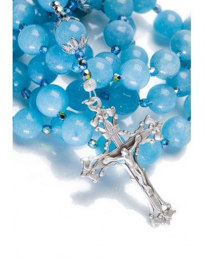 Pure Sky Blu Angelite Rosary with ancient Sterling Silver Crucifix