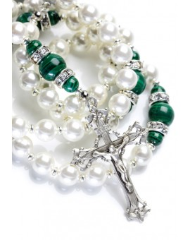 Freshwater Pearls, Deep Green Malachite, Strass rings. Sterling Silver.