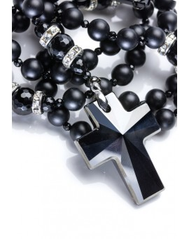 Total Black matte Onyx, Faceted Glossy Onyx, Silver strass rings, Swarovski Crucifix